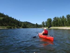 Marge Hulburt kayaking on the Bitterroot River, Montana