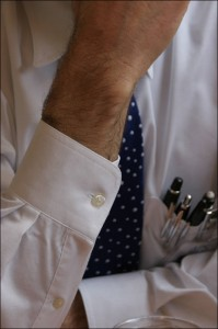 Close-up of a man in a white shirt and tie
