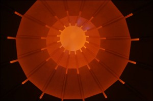 Abstract orange Japanese umbrella