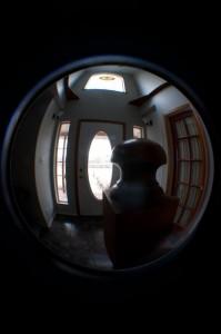 A fisheye view of a front door